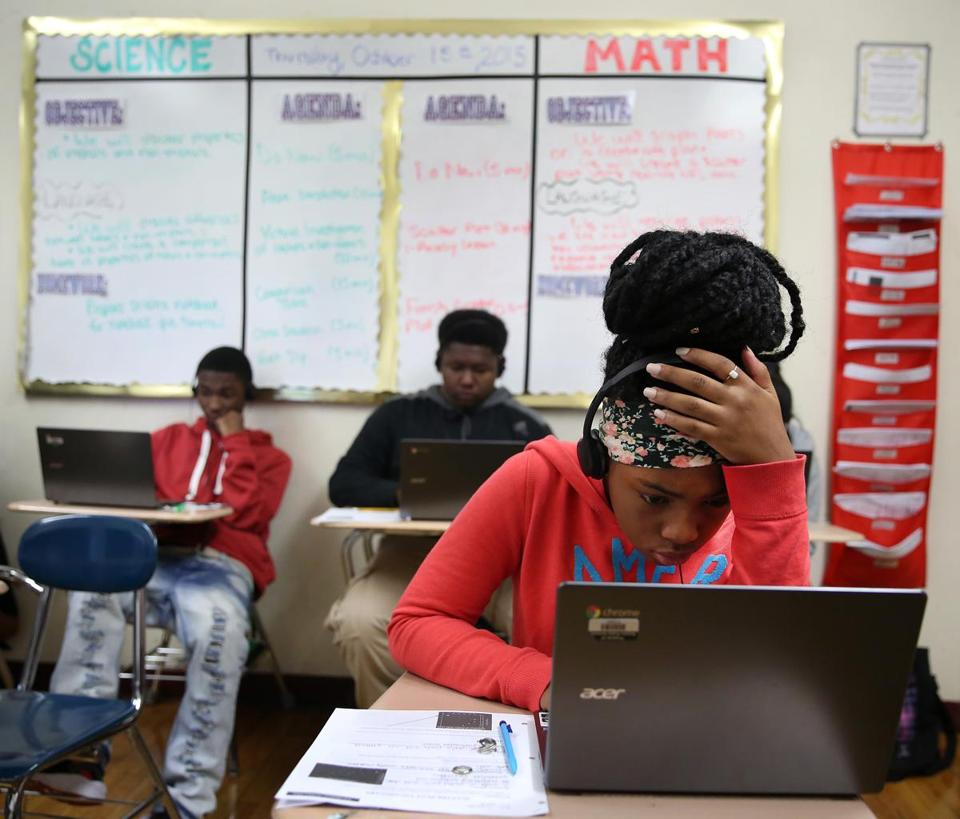 "Middle schoolers at TechBoston Academy in Dorchester will get customized schedules and curriculum to ""meet their individual math needs."""